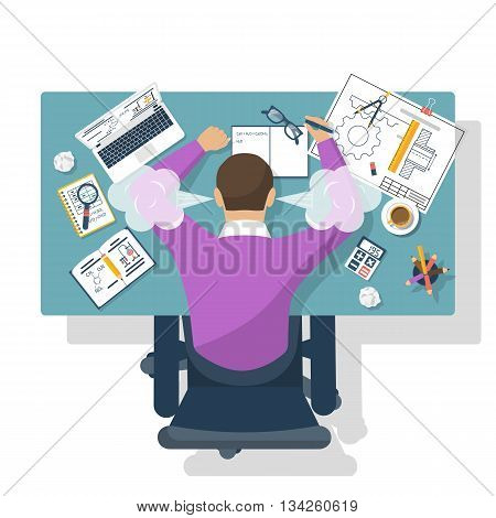 Student stress. Flat design style vector illustration. Tired student for training table. Exam preparation. Education concept. Stressed overworked man studying.