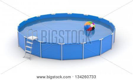 Round swimming pool with ball. 3d illustration