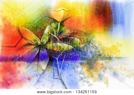 Abstract floral watercolor painting. Abstract colorful watercolour paintings for background. Hand painted composition flowers in soft color background Scenic water color background