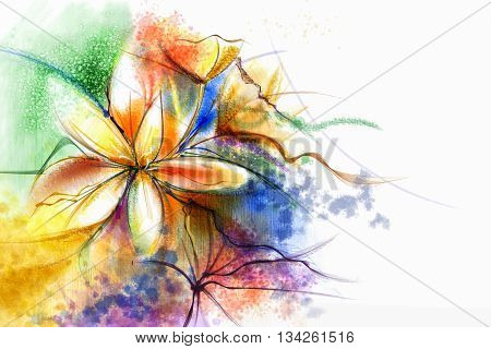 Abstract floral watercolor painting. Abstract colorful watercolour paintings for background. Hand painted composition flowers in soft color background Scenic water color background.