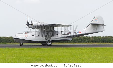 Leeuwarden, Netherlands - June 10: Consolidated Pby Catalina In Dutch Navy Colors Flying At The Roya