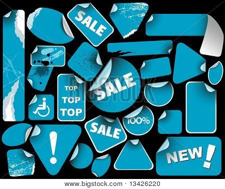 Set of blue sale labels (grunge)