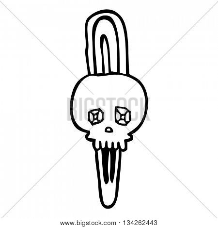 freehand drawn black and white cartoon skull hairclip