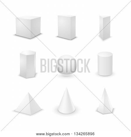 Set of nine basic elementary geometric shapes blank 3d primitives isolated on white