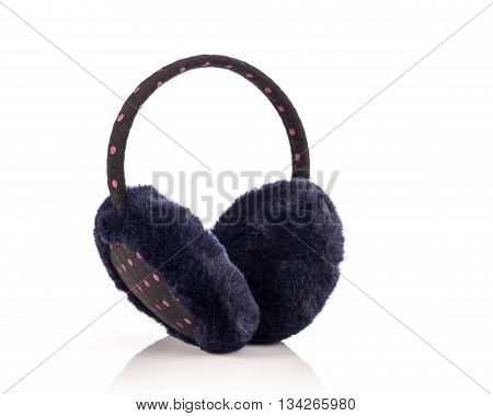 Black Protective Accessory Like Hats From Cold To The Ears Isolated On White