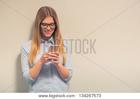 Business Girl With Gadget