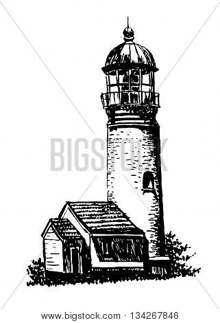 drawing old stone white lighthouse with a house for the caretaker sketch hand drawn graphic isolated vector illustration
