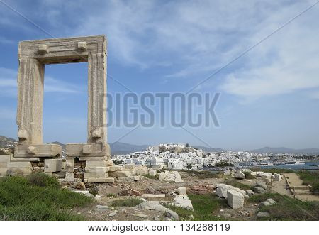 Ancient Portara in beautiful Naxos island, Greece