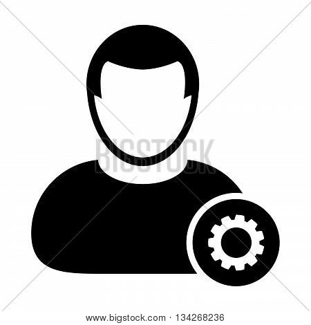 User Icon - Settings, Gear, Configuration, Admin User Icon in Glyph Vector Illustration