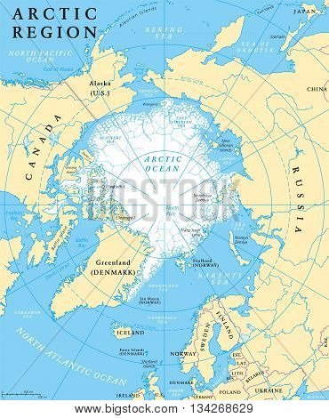Arctic region map with countries, capitals, national borders, rivers and lakes. Arctic Ocean with average minimum extent of sea ice. English labeling and scaling.