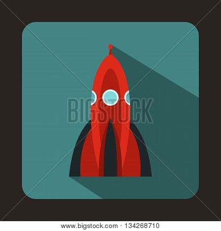 Rocket icon in flat style for any design