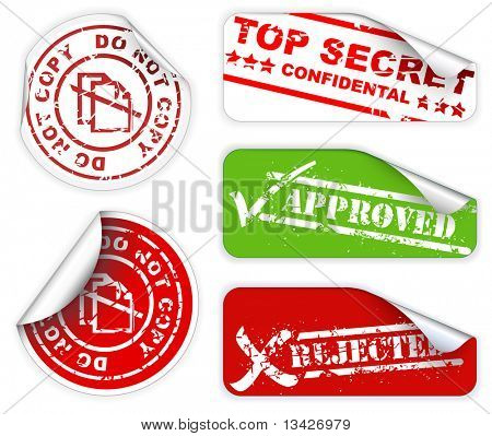 poster of Top secret, approved, rejected, top confidental labels and stickers