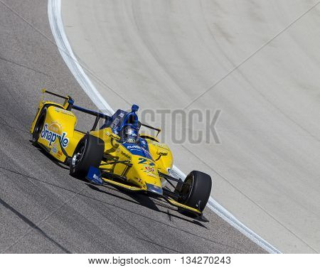 Ft Worth, TX - Jun 10, 2016:  Marco Andretti (27) brings his car through the turns during a practice session for the Firestone 600 at Texas Motor Speedway in Ft Worth, TX.
