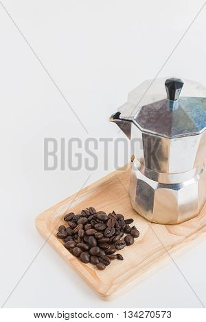 Metal coffee percolator for brewing Italian espresso coffee