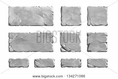 Set of realistic stone interface buttons or bricks. Rock textured fantasy elements.