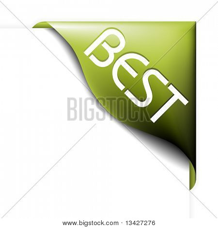 Green corner ribbon for bestseller items  in your eshop poster