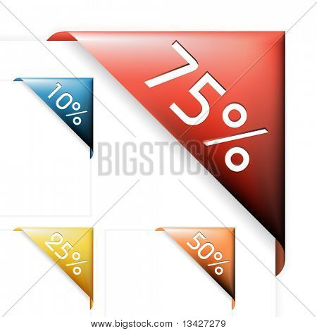 Colourful corner ribbons for items with various percentage sale in your eshop poster