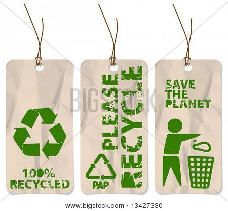 poster of Set of three grunge tags for recycling