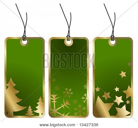 Green Christmas tags with golden borders and seasonal motives