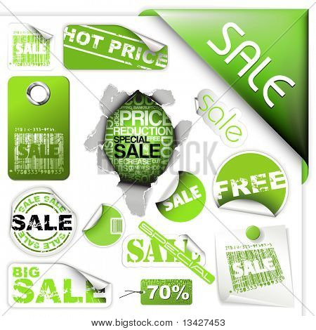 Set of green sale tickets, labels, stamps, stickers, corners, tags