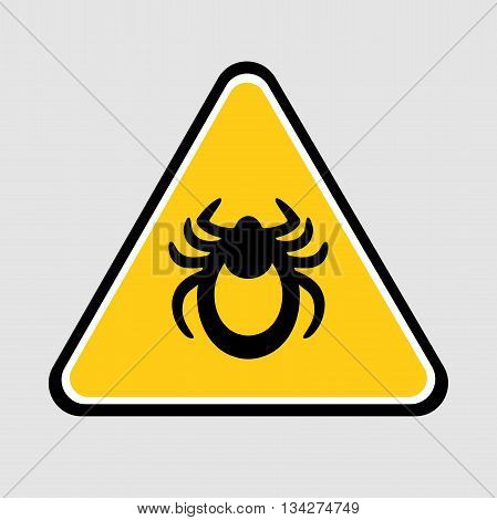 Ticks stop sign. Mite warning sign. Vector illustration of tick warning sign on yellow background. Encephalitis mite skin parasite isolated on white. Flat design