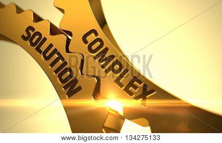 Complex Solution on Golden Metallic Cog Gears. Complex Solution - Concept. Complex Solution on Mechanism of Golden Metallic Gears with Lens Flare. 3D Render.