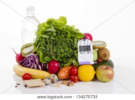 Diabetes diabetic concept. Measuring glucose food diet,