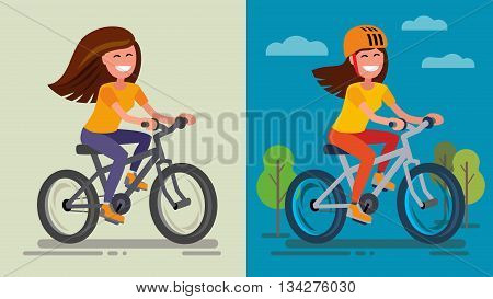 Romantic Girl on bicycle on forest road