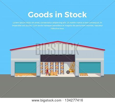 Goods in stock banner design flat. Warehouse stock with a pile of cardboard boxes and package boxes. Delivery and shipping cargo, logistic to storehouse, merchandise box, vector illustration poster