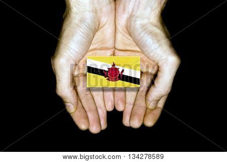 Flag of Brunei in hands isolated on black background.
