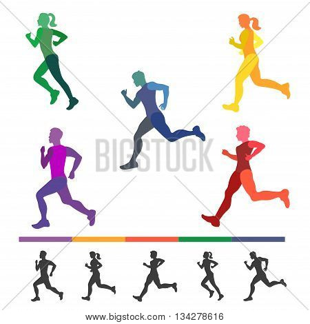 Running people set. Colorful silhouettes of runners. Running man and woman, all part of body separately. Make your own runners. Vector illustration.