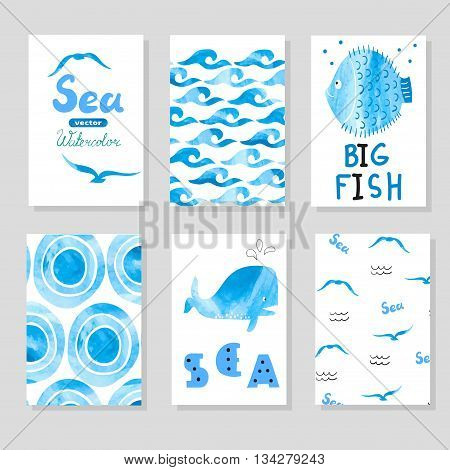 Watercolor sea set in blue and white colors. Collection of cards template, marine theme. Vector sea illustrations. Hand drawn card for your design, birthday, party invitations.