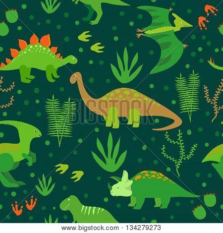 Cute dinosaurs seamless pattern. Vector background with cartoon green dinosaurs on dark.