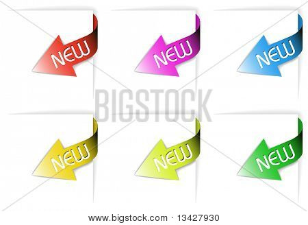 Colorful new corner ribbons set - arrows pointing at the content  (vector)