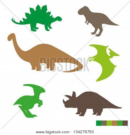 Cute dinosaurs silhouettes set. Collection of dino isolated on white background. Vector illustration.