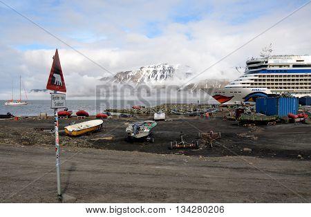 Longyearbyen, Svalbard - JUNE 10. The AIDA Cruise ship, AIDAluna, in the harbor of Longyearbyen on June 10, 2016.
