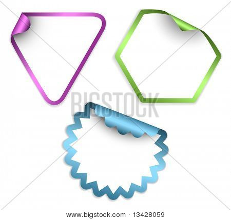 White labels and stickers with colorful border poster
