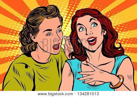 Two girlfriends talking pop art pop art retro vector