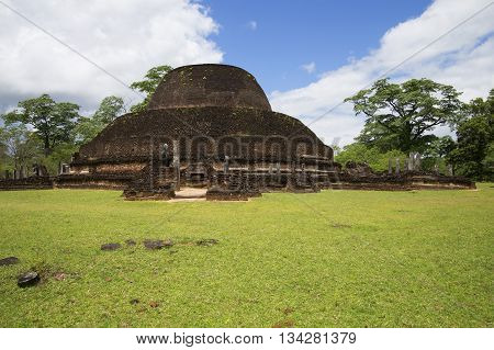 The ruins of an ancient Dagoba in Polonnaruwa, Sri Lanka