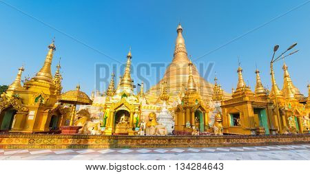 Shwedagon or Great Dagon Pagoda in Yangon. Myanmar. Panorama