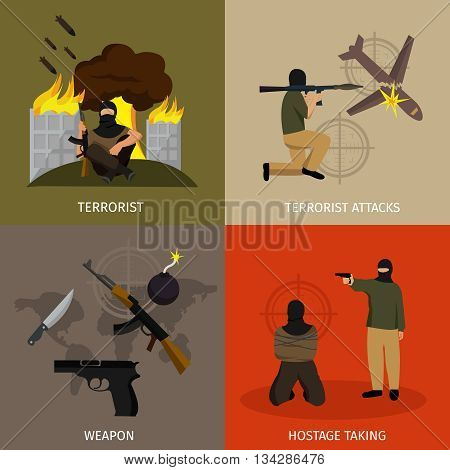 Terrorism icon set with descriptions of terrorist terrorist attacks weapon and hostage taking vector illustration