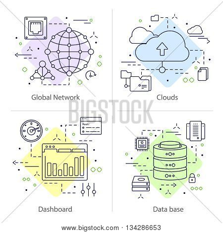 Four colored square datacenter icon set with descriptions of global network clouds dashboard and data base vector illustration poster