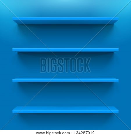 Gorizontal blue bookshelves on the blue wall