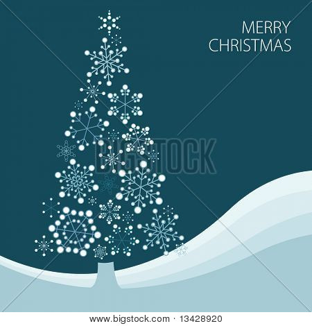 Christmas tree made from simple abstract snowflakes poster
