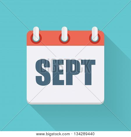 September Dates Flat Icon with Long Shadow. Vector Illustration EPS10