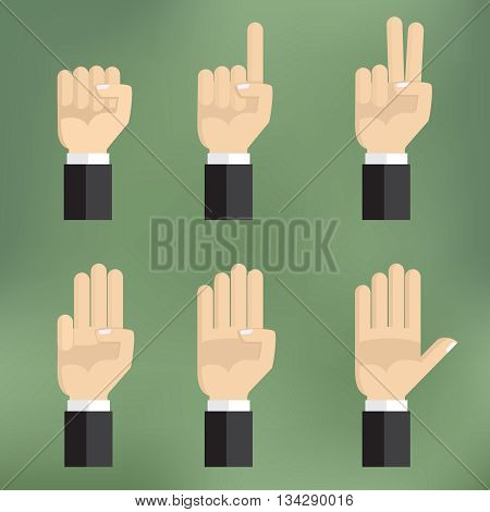 Set of counting hand sign from one to five. Vector illustration on colorful background flat design.