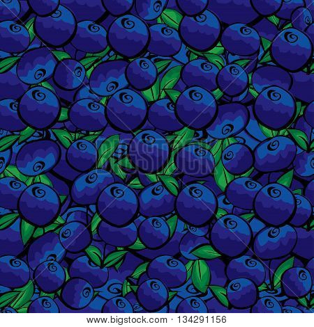 Seamless background of bright blueberry berries. Painted blueberries. Hand drawn berries