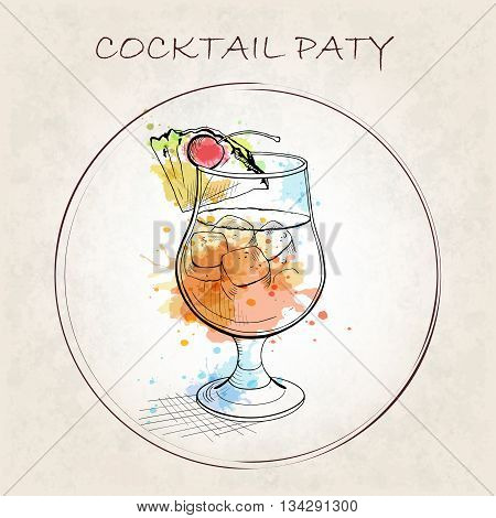 Cocktail Party booklet. Cocktail Maui Island Breeze with watercolor spots. A beach cocktail with perfect amount of sweet and tart flavor. Hand drawn vector illustration.