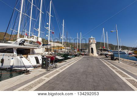 MARMARIS. TURKEY - SEPTEMBER 15. 2014: Yachts in the Marmaris port in Mugla province in Turkey. At 2013 more than 3 million tourists visited Mugla province.