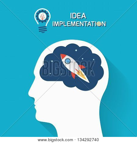 Idea implementation and startup business concept. Human head with brain and rocket. Infographic template. Vector illustration.